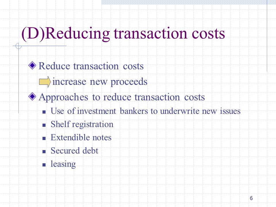 6 (D)Reducing transaction costs Reduce transaction costs increase new proceeds Approaches to reduce transaction costs Use of investment bankers to underwrite new issues Shelf registration Extendible notes Secured debt leasing