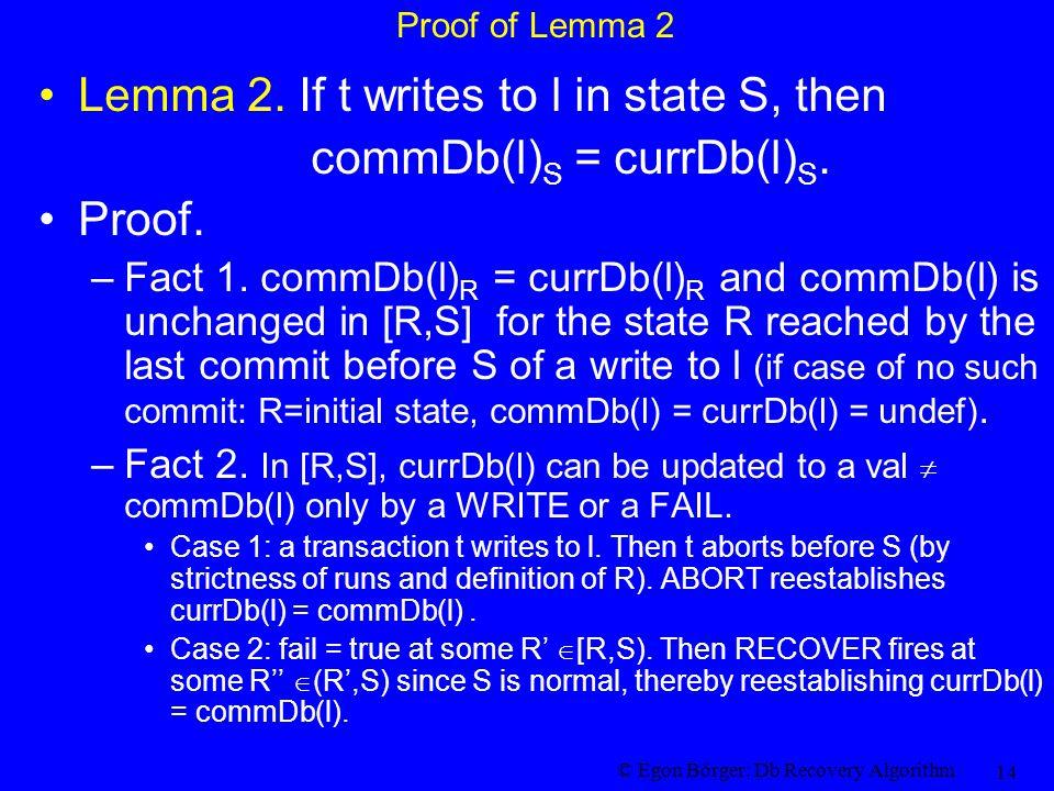 © Egon Börger: Db Recovery Algorithm 14 Proof of Lemma 2 Lemma 2. If t writes to l in state S, then commDb(l) S = currDb(l) S. Proof. –Fact 1. commDb(
