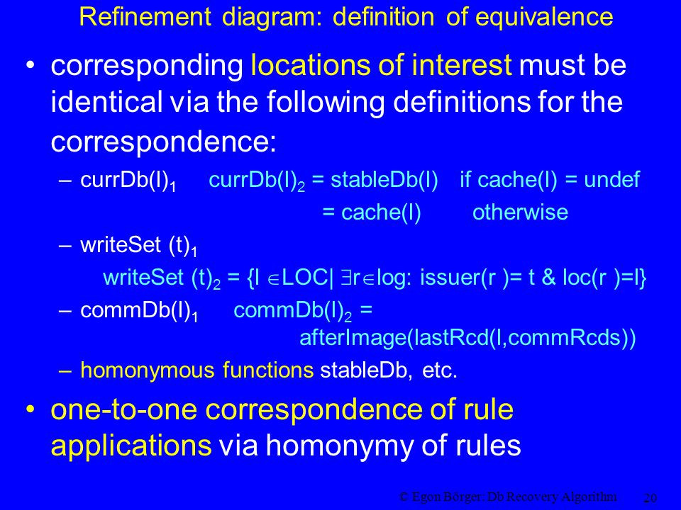 © Egon Börger: Db Recovery Algorithm 20 Refinement diagram: definition of equivalence corresponding locations of interest must be identical via the following definitions for the correspondence: –currDb(l) 1 currDb(l) 2 = stableDb(l) if cache(l) = undef = cache(l) otherwise –writeSet (t) 1 writeSet (t) 2 = {l  LOC|  r  log: issuer(r )= t & loc(r )=l} –commDb(l) 1 commDb(l) 2 = afterImage(lastRcd(l,commRcds)) –homonymous functions stableDb, etc.