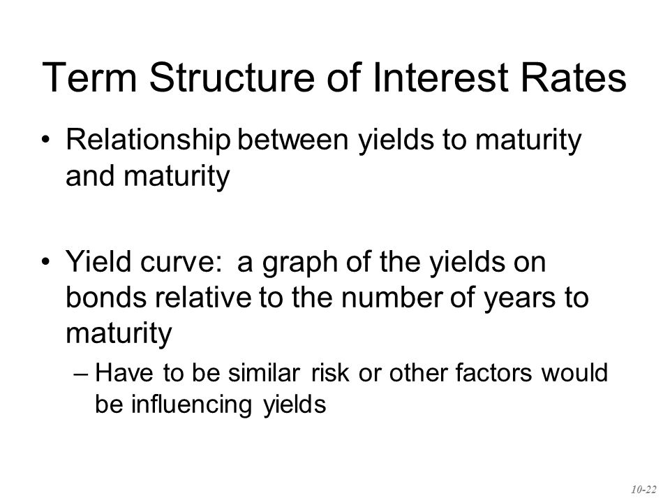 Term Structure of Interest Rates Relationship between yields to maturity and maturity Yield curve: a graph of the yields on bonds relative to the number of years to maturity –Have to be similar risk or other factors would be influencing yields 10-22
