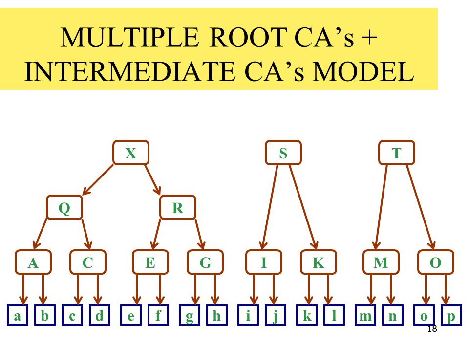 18 MULTIPLE ROOT CA's + INTERMEDIATE CA's MODEL X Q A R ST CEGIKMO abcdefghijklmnop