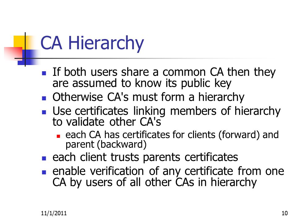 11/1/201110 CA Hierarchy If both users share a common CA then they are assumed to know its public key Otherwise CA s must form a hierarchy Use certificates linking members of hierarchy to validate other CA s each CA has certificates for clients (forward) and parent (backward) each client trusts parents certificates enable verification of any certificate from one CA by users of all other CAs in hierarchy