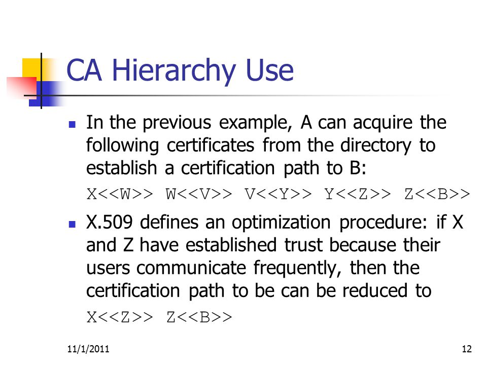 In the previous example, A can acquire the following certificates from the directory to establish a certification path to B: X > W > V > Y > Z > X.509 defines an optimization procedure: if X and Z have established trust because their users communicate frequently, then the certification path to be can be reduced to X > Z > 11/1/201112