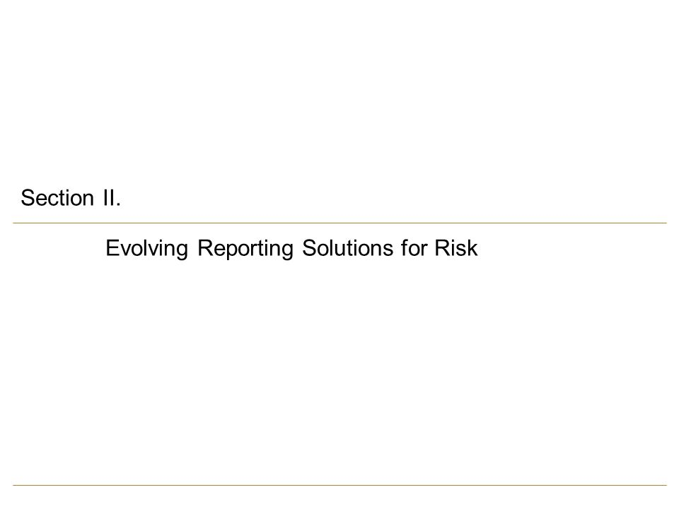 Section II. Evolving Reporting Solutions for Risk