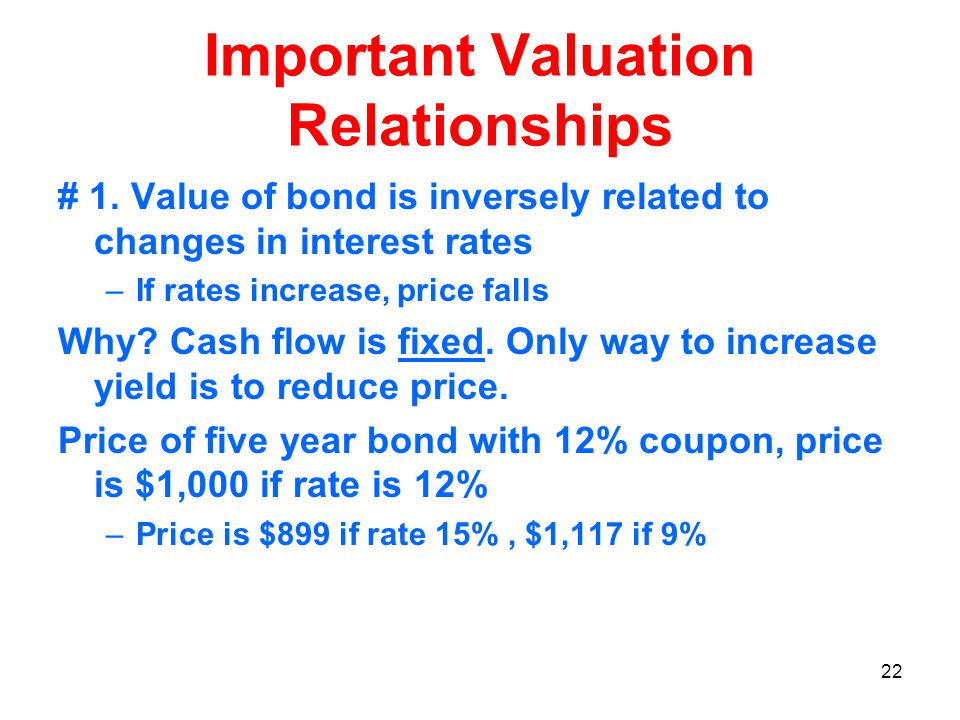 22 Important Valuation Relationships # 1.