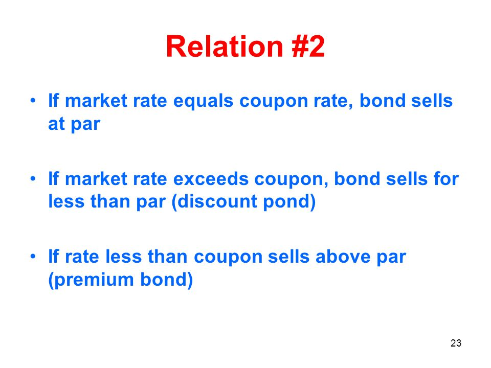 23 Relation #2 If market rate equals coupon rate, bond sells at par If market rate exceeds coupon, bond sells for less than par (discount pond) If rate less than coupon sells above par (premium bond)