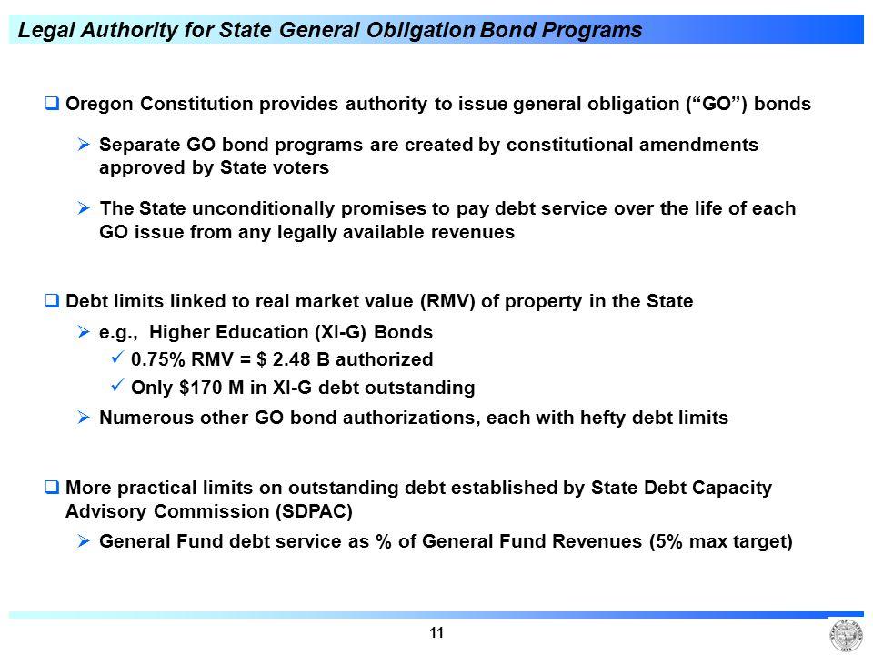"11 Legal Authority for State General Obligation Bond Programs  Oregon Constitution provides authority to issue general obligation (""GO"") bonds  Sepa"