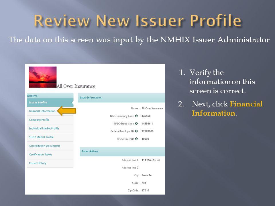 The data on this screen was input by the NMHIX Issuer Administrator 2.Next, click Financial Information.