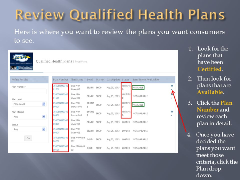 Here is where you want to review the plans you want consumers to see.