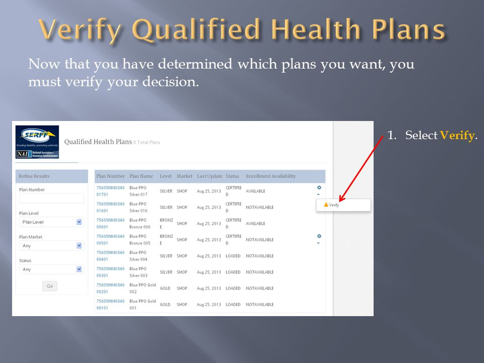 Now that you have determined which plans you want, you must verify your decision. 1.Select Verify.