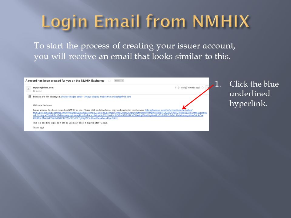 To start the process of creating your issuer account, you will receive an email that looks similar to this.