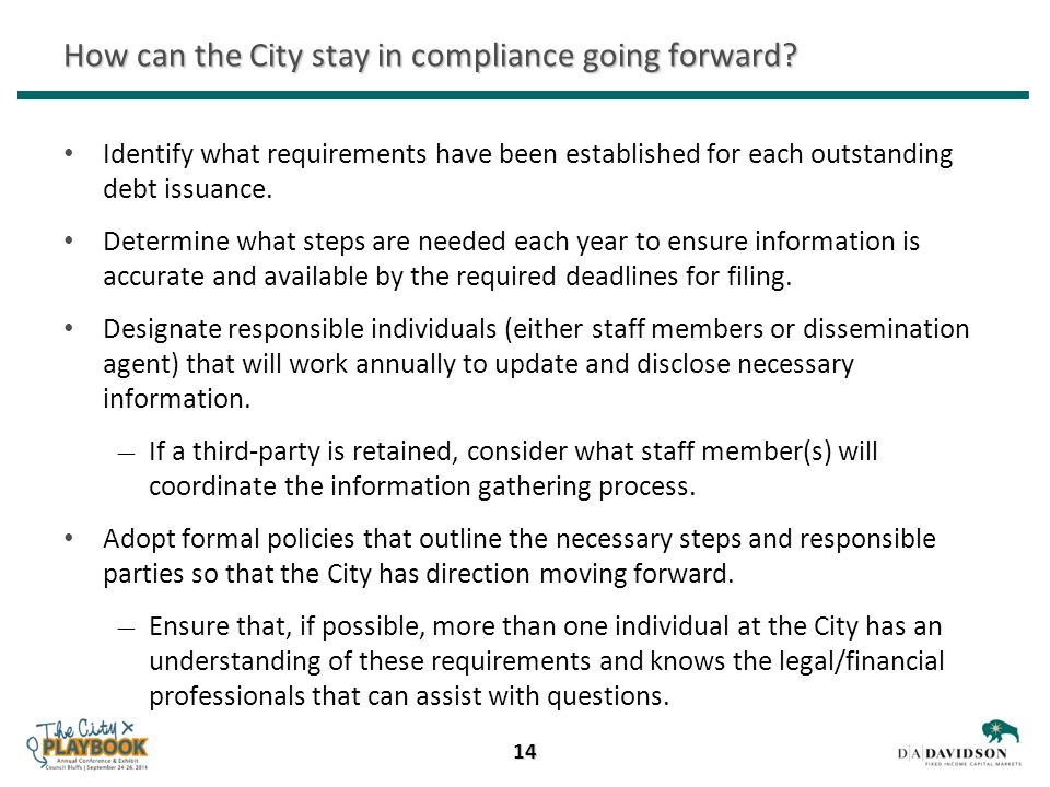 How can the City stay in compliance going forward.