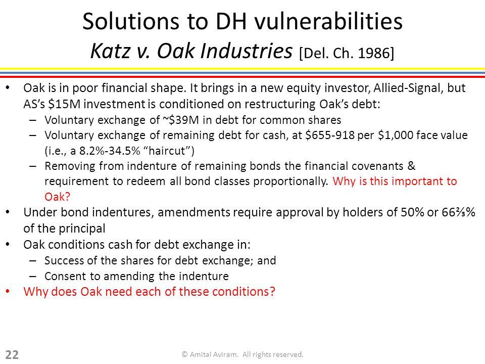 Solutions to DH vulnerabilities Katz v. Oak Industries [Del.