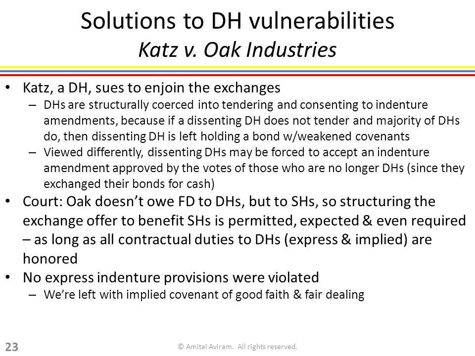 Solutions to DH vulnerabilities Katz v.