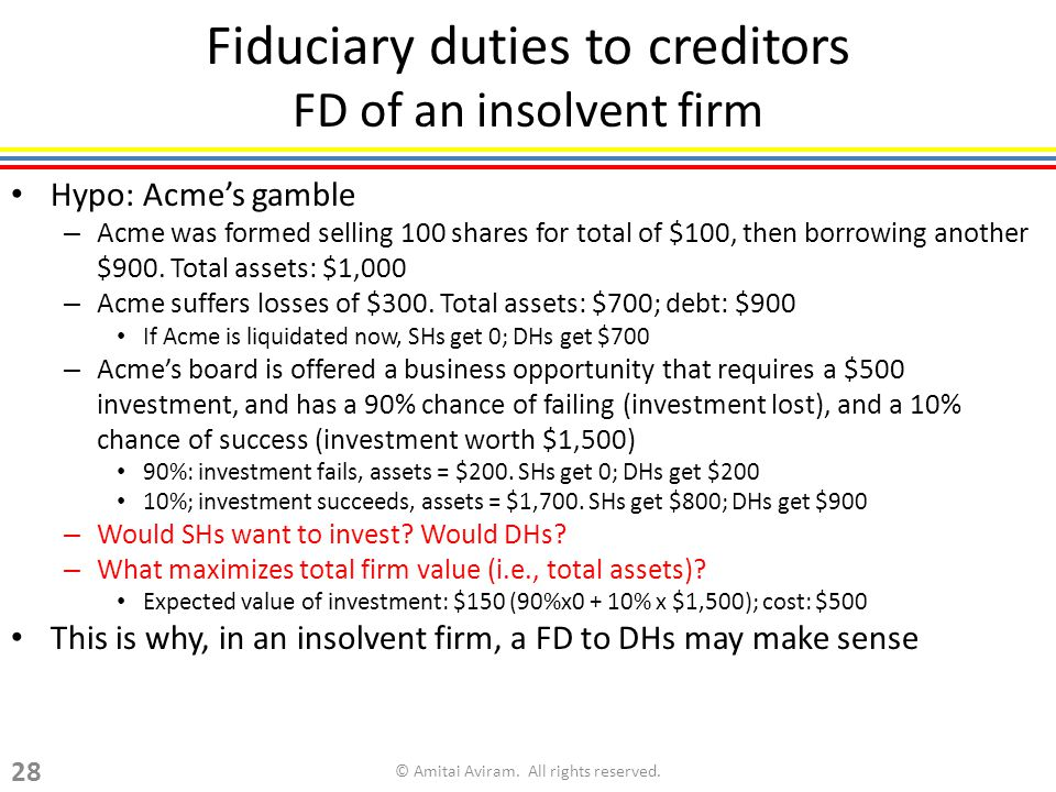 Fiduciary duties to creditors FD of an insolvent firm Hypo: Acme's gamble – Acme was formed selling 100 shares for total of $100, then borrowing another $900.