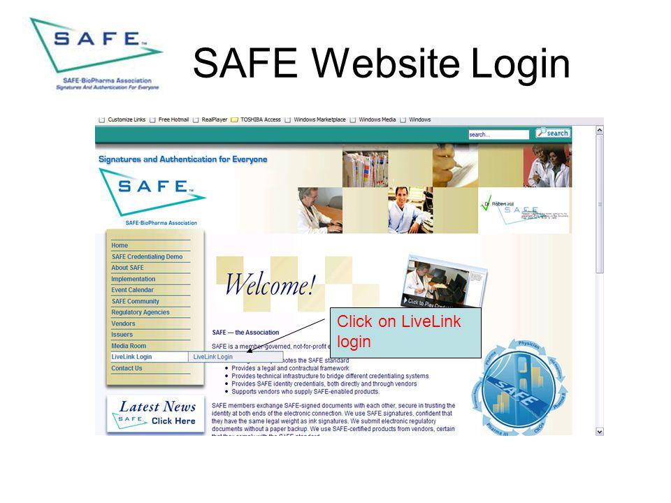 SAFE Website Login Click on LiveLink login