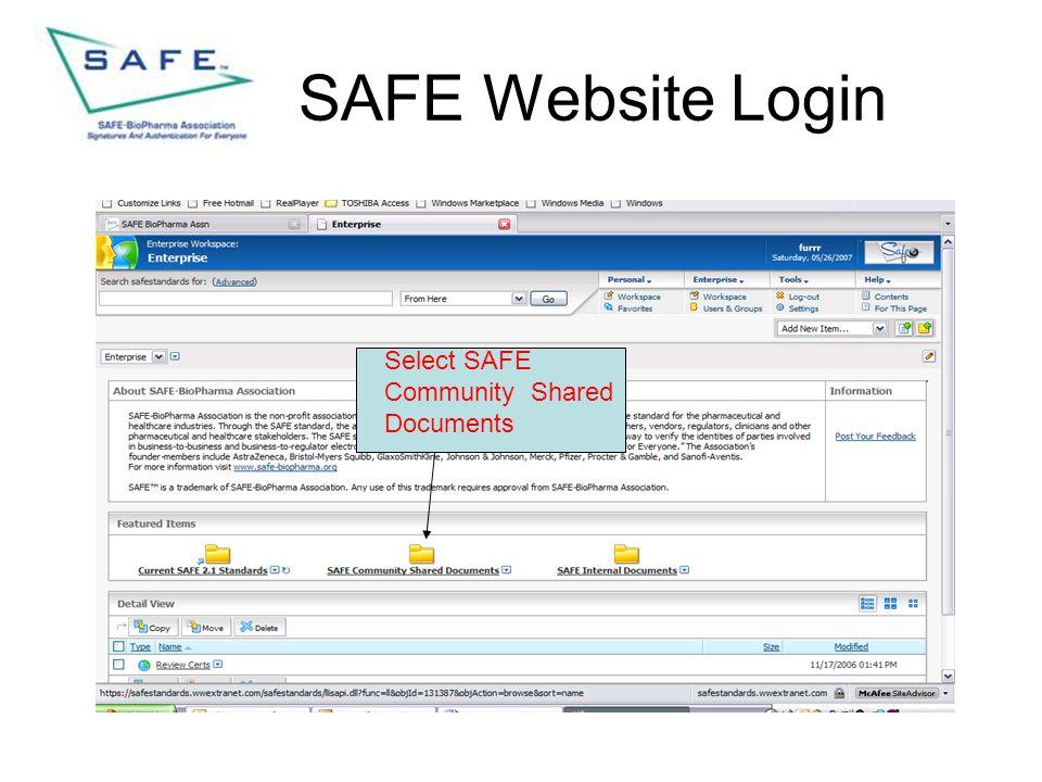 SAFE Website Login Select SAFE Community Shared Documents