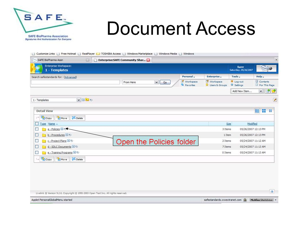 Document Access Open the Policies folder