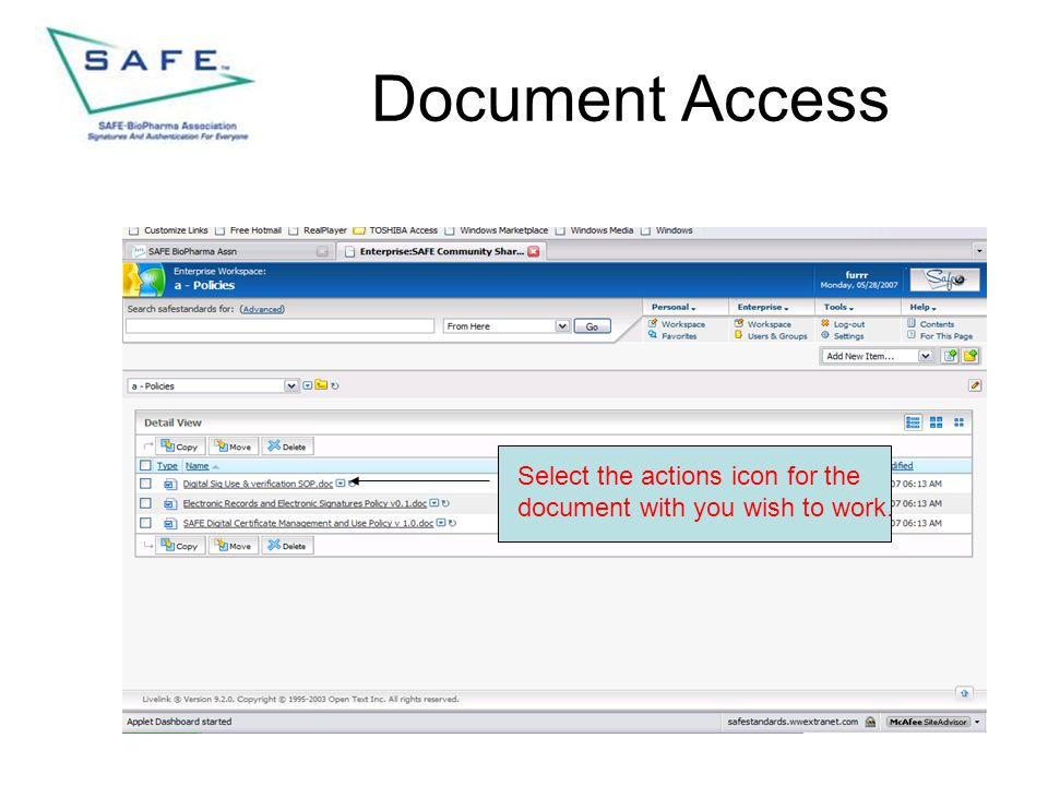 Document Access Select the actions icon for the document with you wish to work.