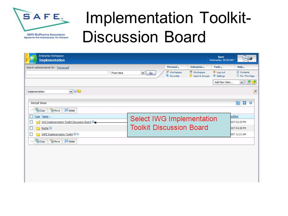Implementation Toolkit- Discussion Board Select IWG Implementation Toolkit Discussion Board