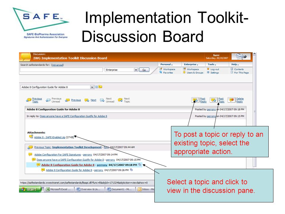 Implementation Toolkit- Discussion Board Select a topic and click to view in the discussion pane. To post a topic or reply to an existing topic, selec