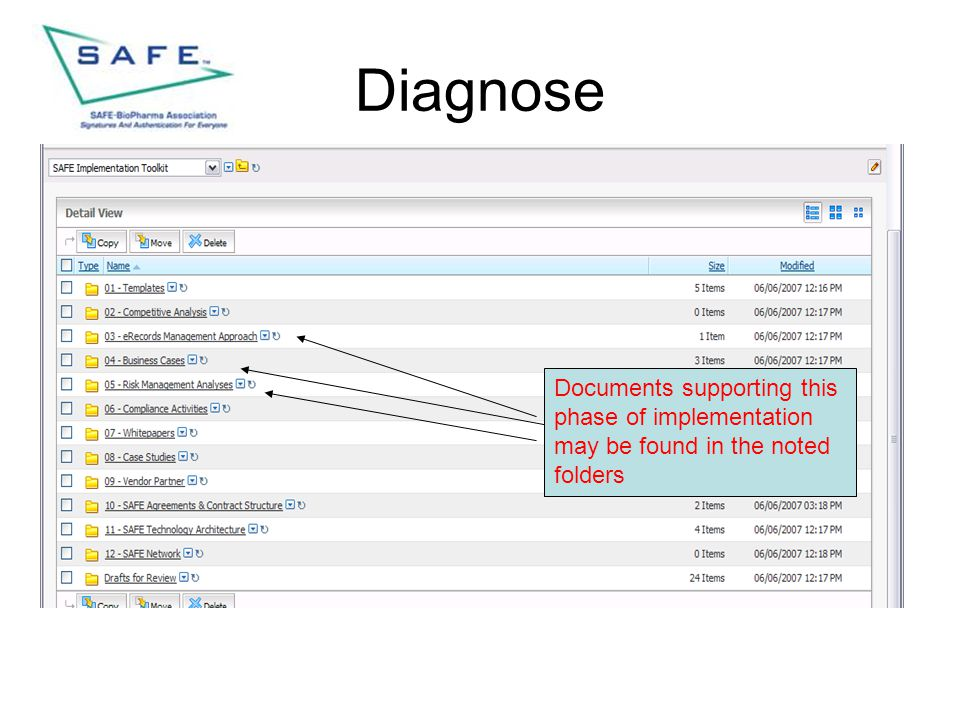 Diagnose Documents supporting this phase of implementation may be found in the noted folders