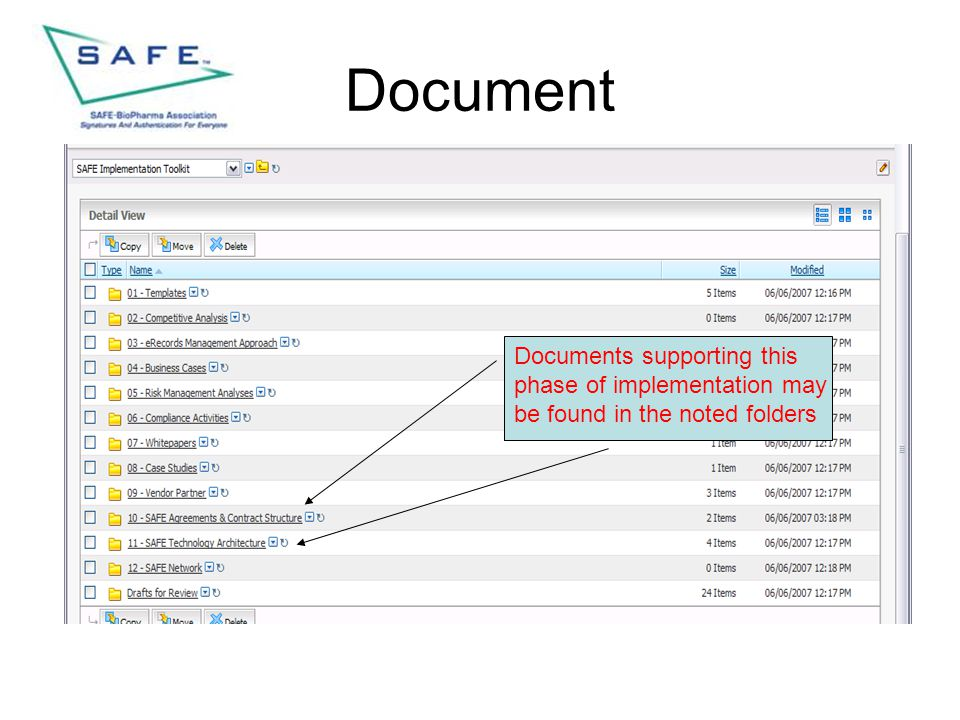 Document Documents supporting this phase of implementation may be found in the noted folders