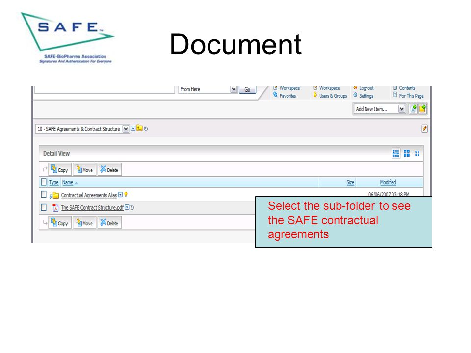 Document Select the sub-folder to see the SAFE contractual agreements