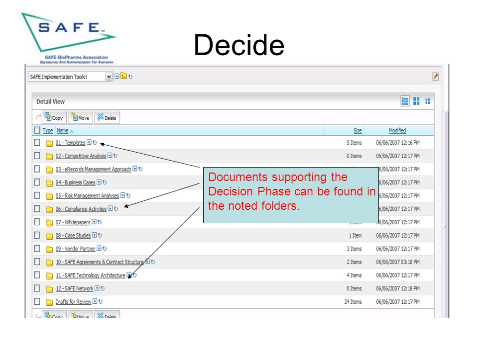 Decide Documents supporting the Decision Phase can be found in the noted folders.