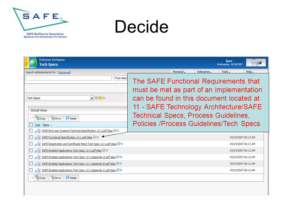 Decide The SAFE Functional Requirements that must be met as part of an implementation can be found in this document located at 11 - SAFE Technology Ar