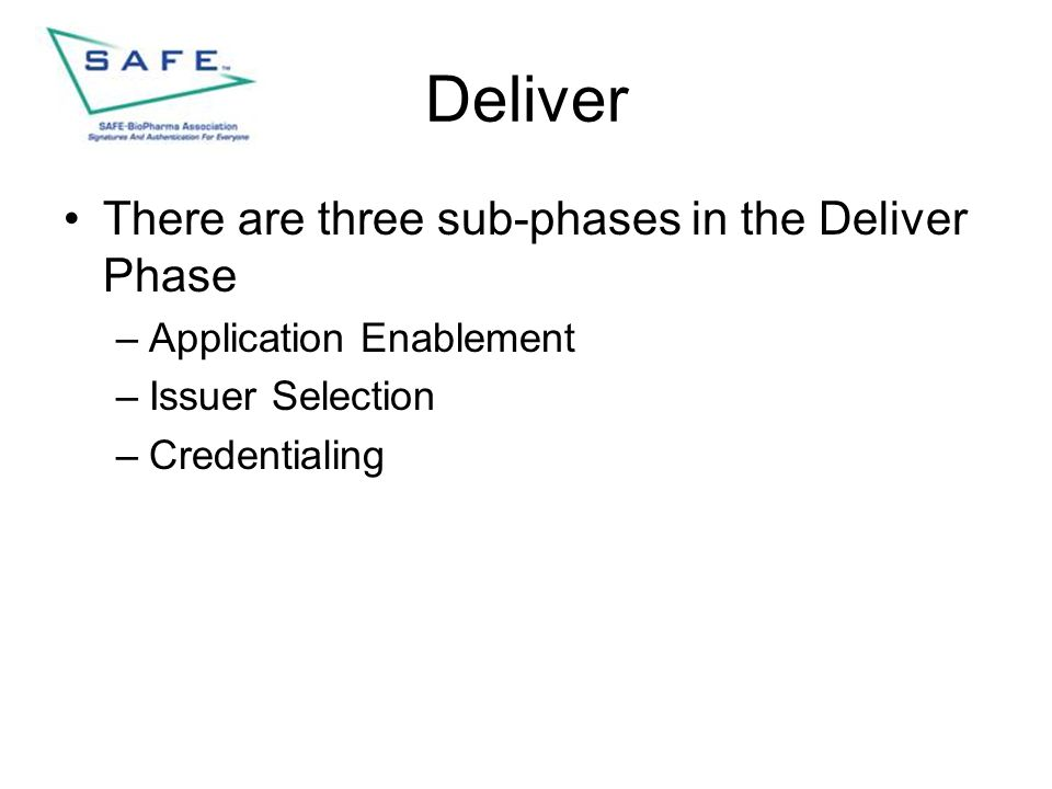 Deliver There are three sub-phases in the Deliver Phase –Application Enablement –Issuer Selection –Credentialing