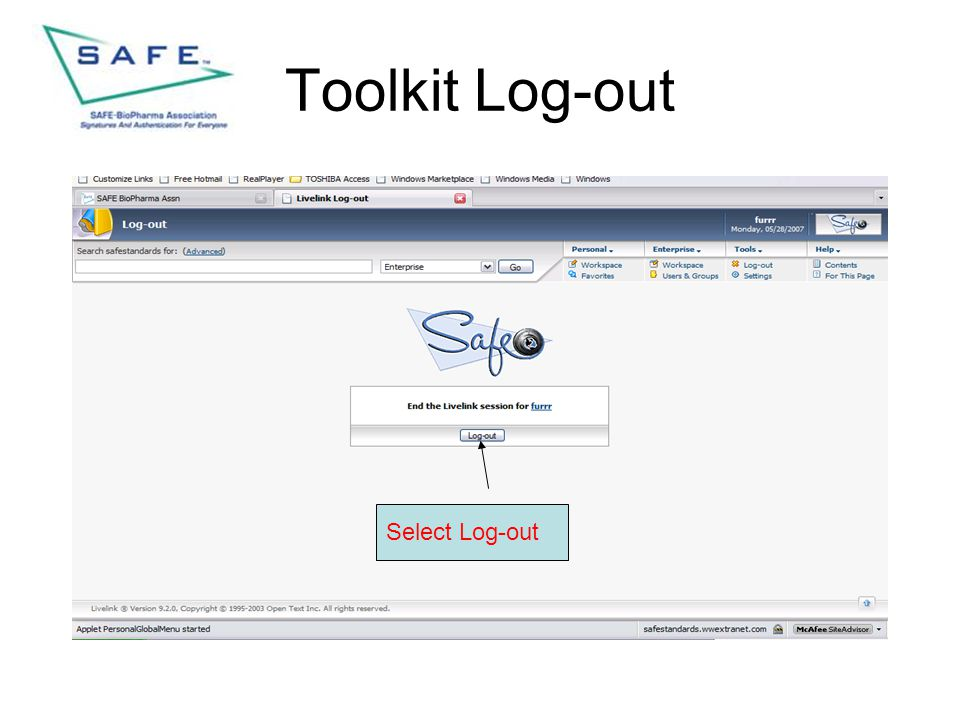 Toolkit Log-out Select Log-out