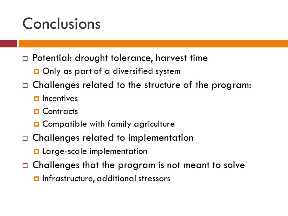 Conclusions  Potential: drought tolerance, harvest time  Only as part of a diversified system  Challenges related to the structure of the program:  Incentives  Contracts  Compatible with family agriculture  Challenges related to implementation  Large-scale implementation  Challenges that the program is not meant to solve  Infrastructure, additional stressors