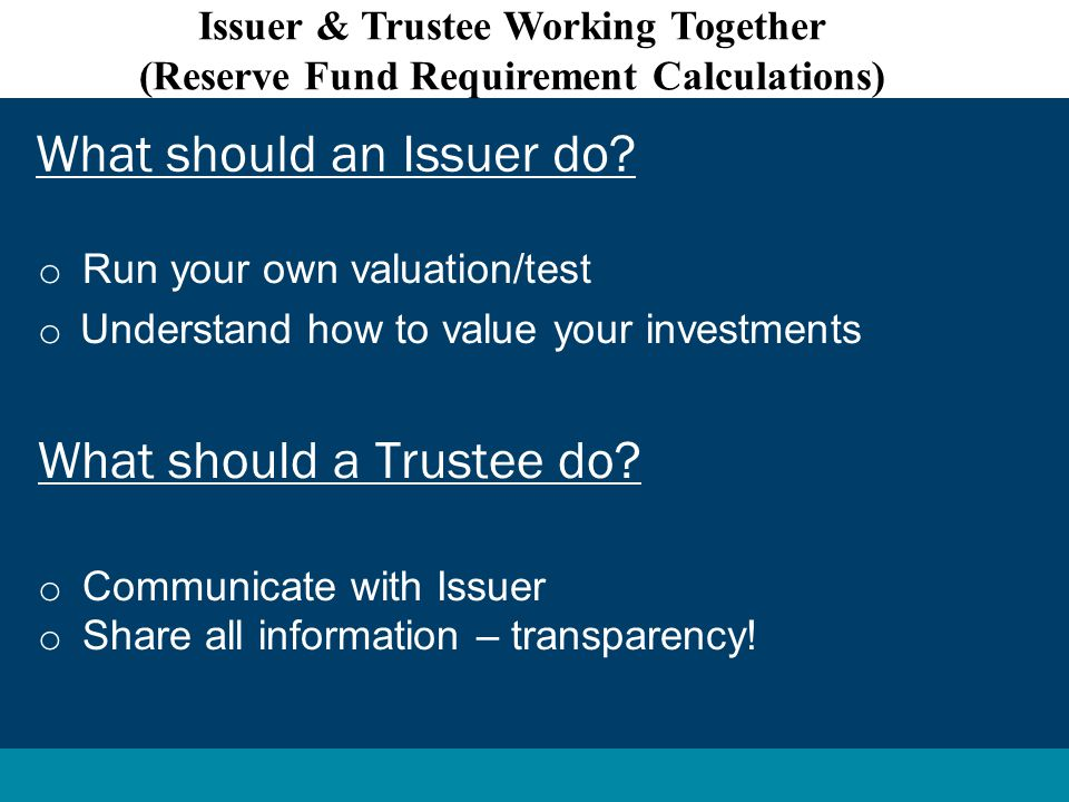 o Run your own valuation/test o Understand how to value your investments What should a Trustee do.
