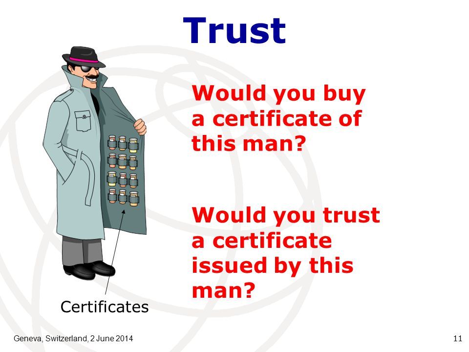 Trust Geneva, Switzerland, 2 June 201411 Would you buy a certificate of this man.