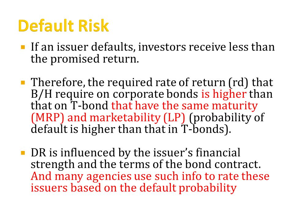  If an issuer defaults, investors receive less than the promised return.