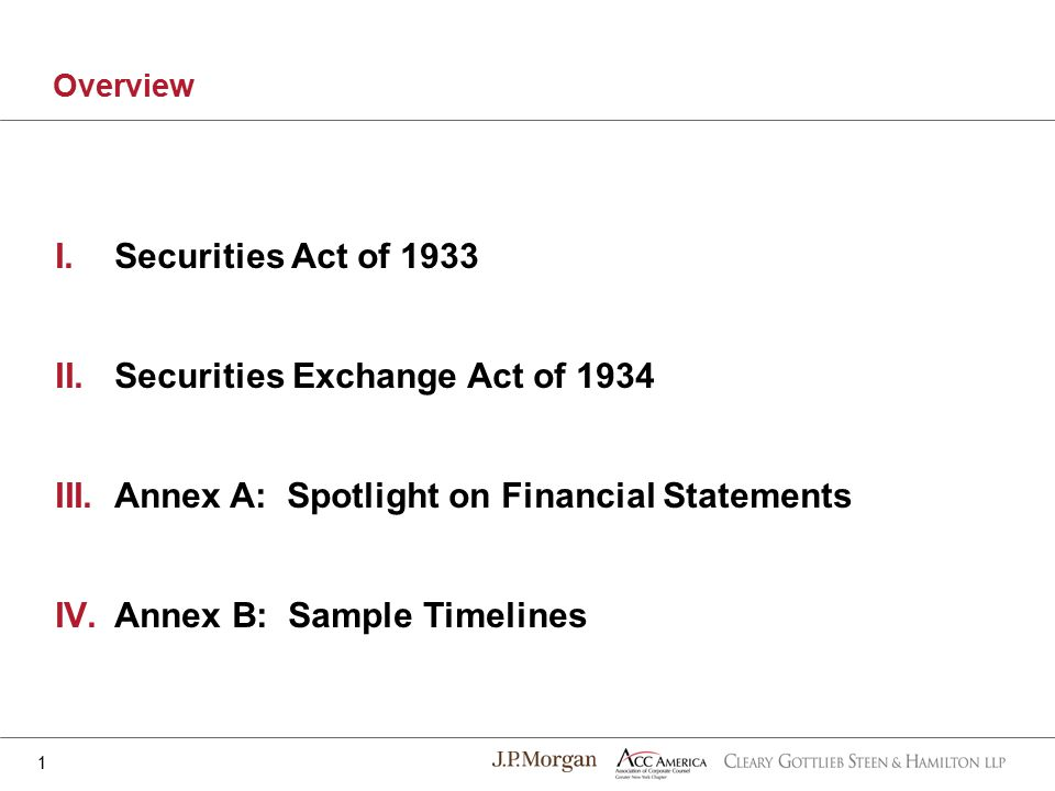 I.Securities Act of 1933 II.Securities Exchange Act of 1934 III.Annex A: Spotlight on Financial Statements IV.Annex B: Sample Timelines Overview 1