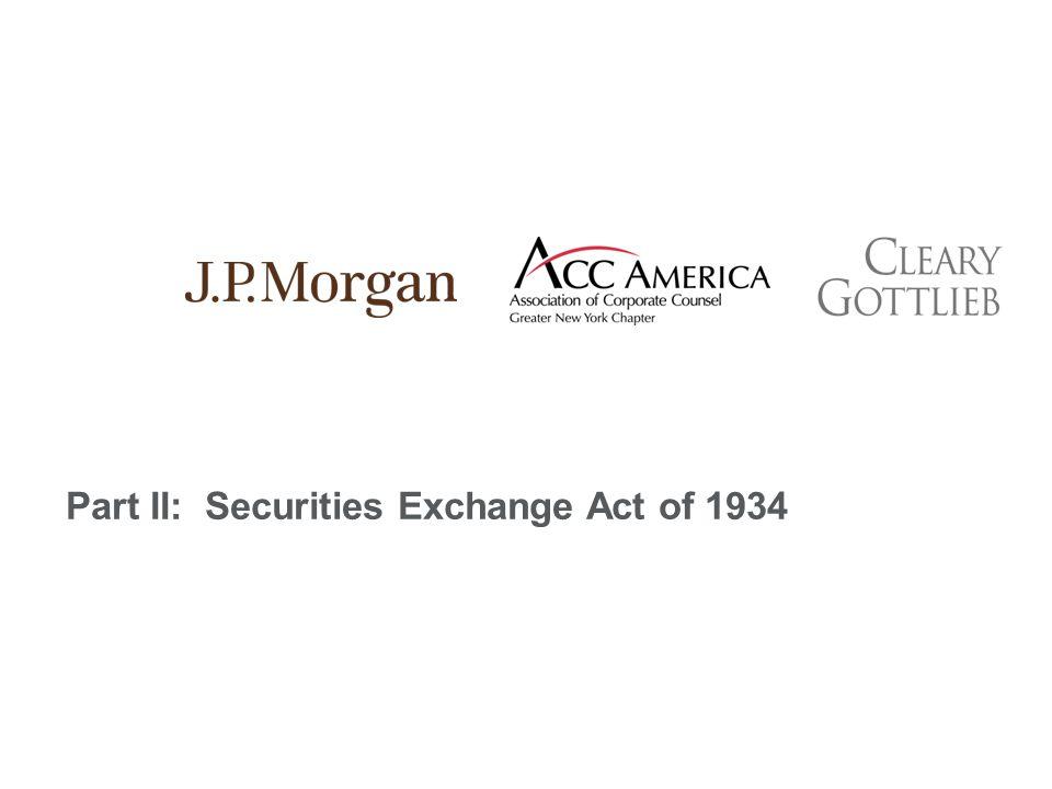 Part II: Securities Exchange Act of 1934