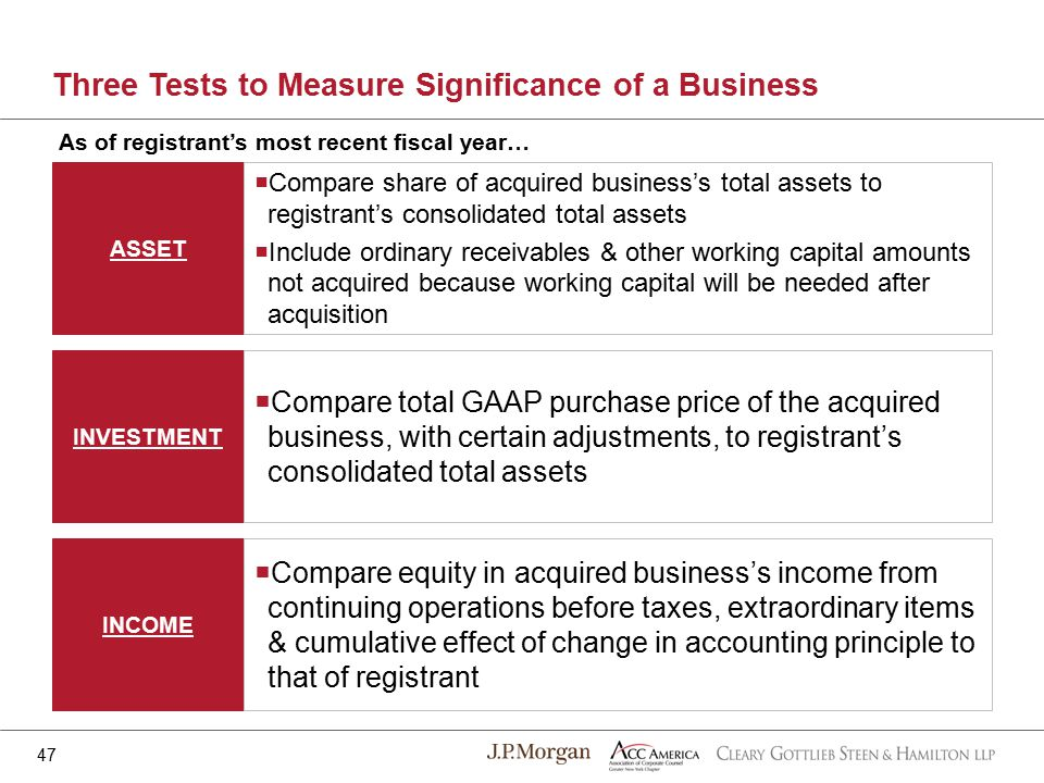 ASSET INVESTMENT INCOME Three Tests to Measure Significance of a Business  Compare share of acquired business's total assets to registrant's consolidated total assets  Include ordinary receivables & other working capital amounts not acquired because working capital will be needed after acquisition  Compare total GAAP purchase price of the acquired business, with certain adjustments, to registrant's consolidated total assets  Compare equity in acquired business's income from continuing operations before taxes, extraordinary items & cumulative effect of change in accounting principle to that of registrant 47 As of registrant's most recent fiscal year…