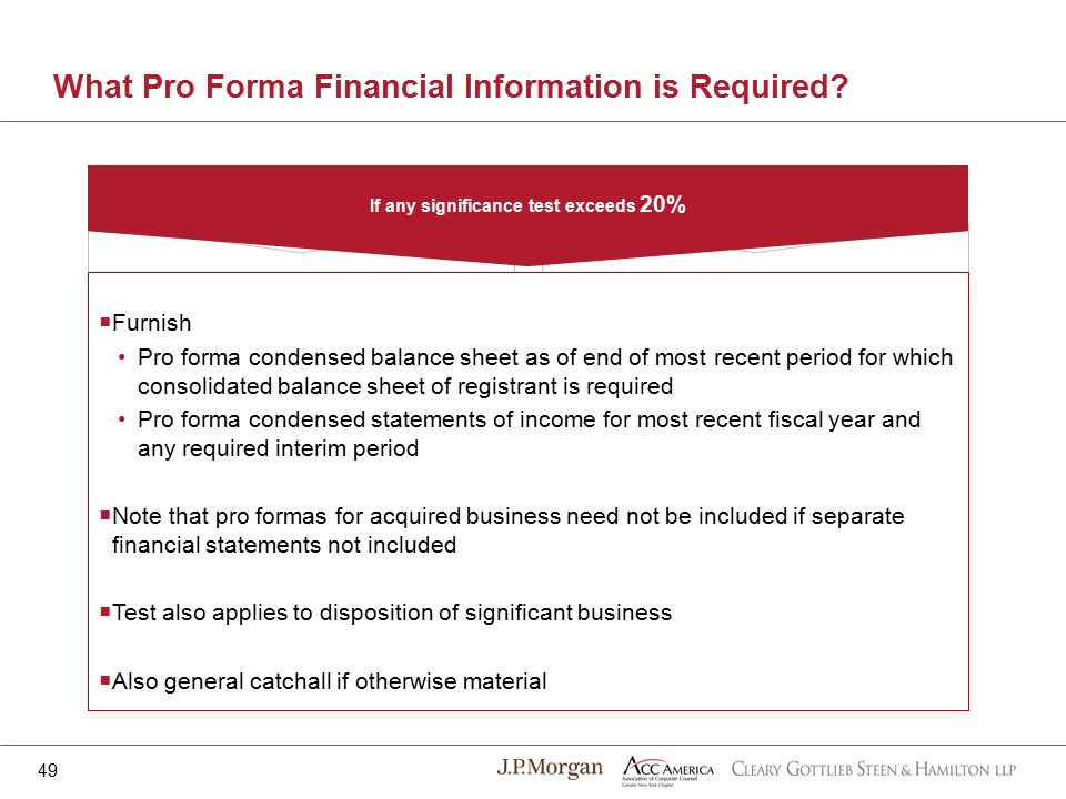 If any significance test exceeds 20% What Pro Forma Financial Information is Required.