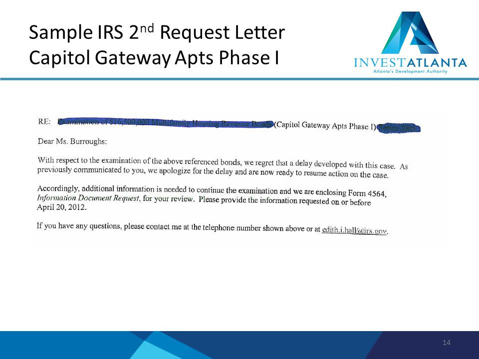 Sample IRS 2 nd Request Letter Capitol Gateway Apts Phase I 14