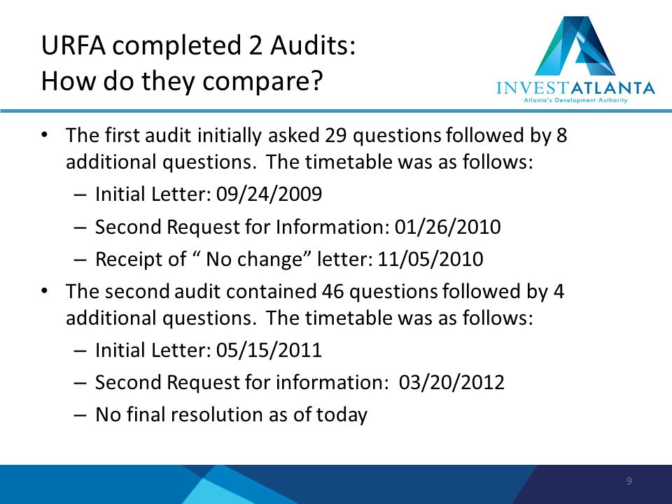 URFA completed 2 Audits: How do they compare? The first audit initially asked 29 questions followed by 8 additional questions. The timetable was as fo