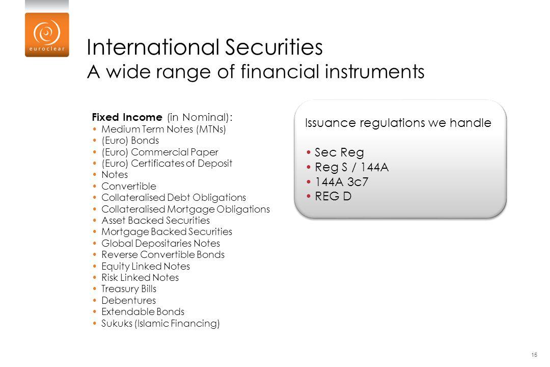 Issuance regulations we handle Sec Reg Reg S / 144A 144A 3c7 REG D Issuance regulations we handle Sec Reg Reg S / 144A 144A 3c7 REG D International Se