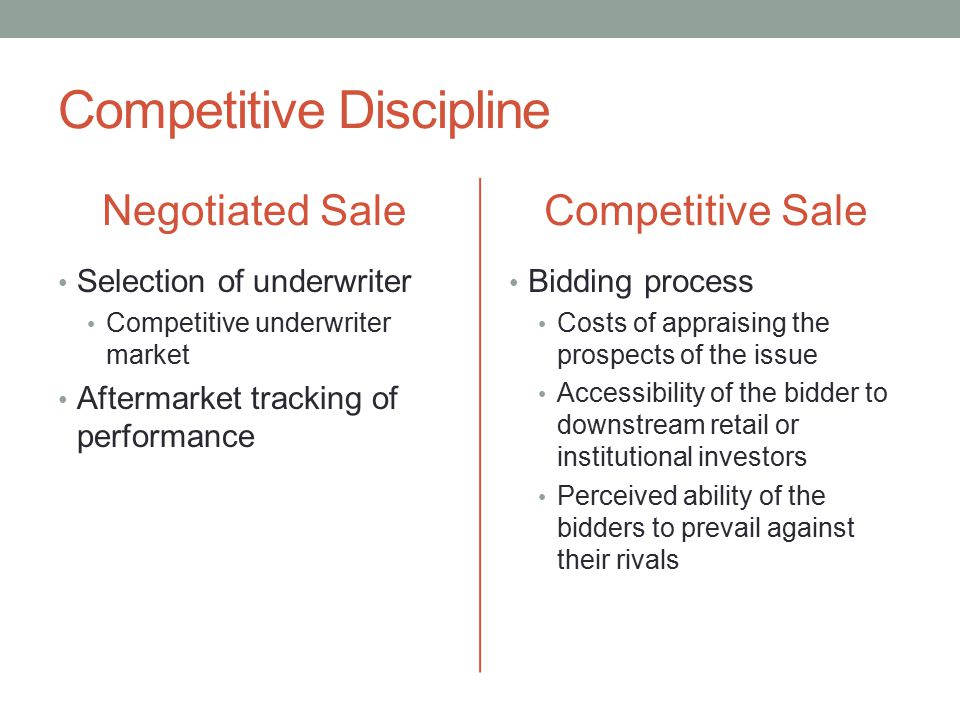 Competitive Discipline Negotiated Sale Selection of underwriter Competitive underwriter market Aftermarket tracking of performance Competitive Sale Bi