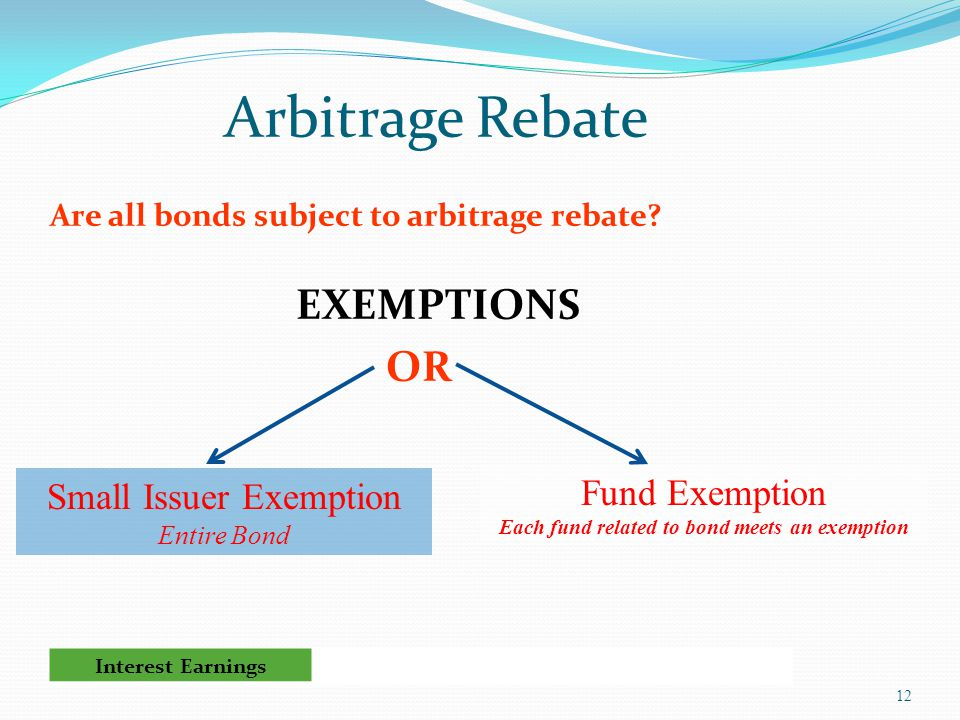 Arbitrage Rebate Are all bonds subject to arbitrage rebate.