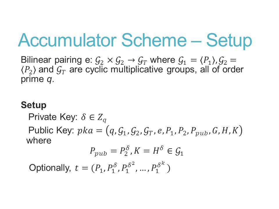 Accumulator Scheme – Setup