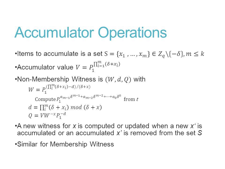 Efficient Accumulator NM Proof
