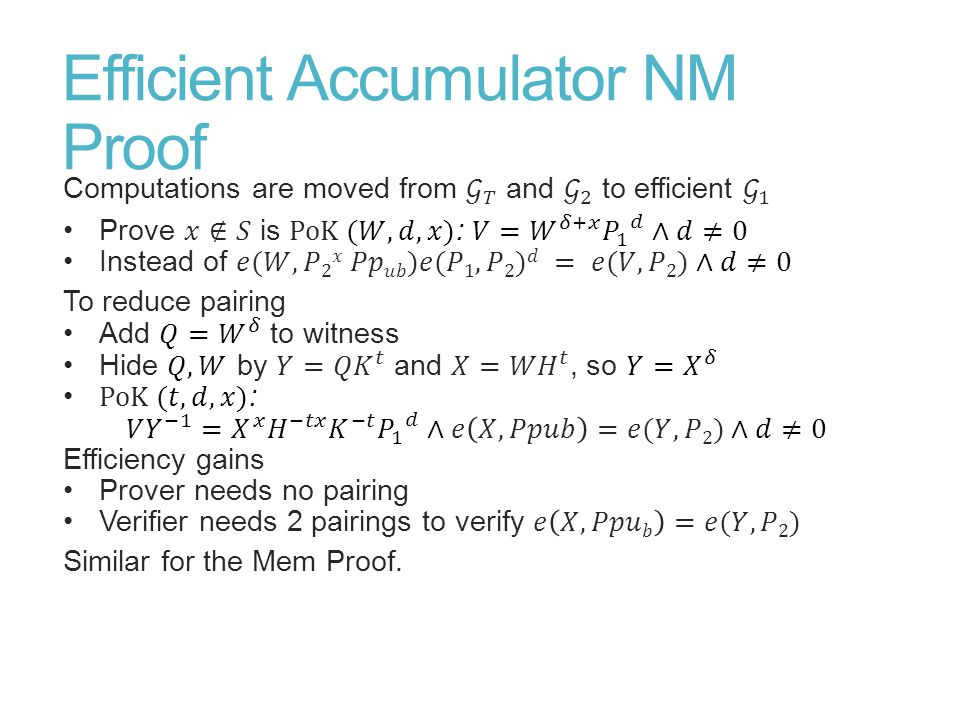 Efficient Accumulator NM Proof