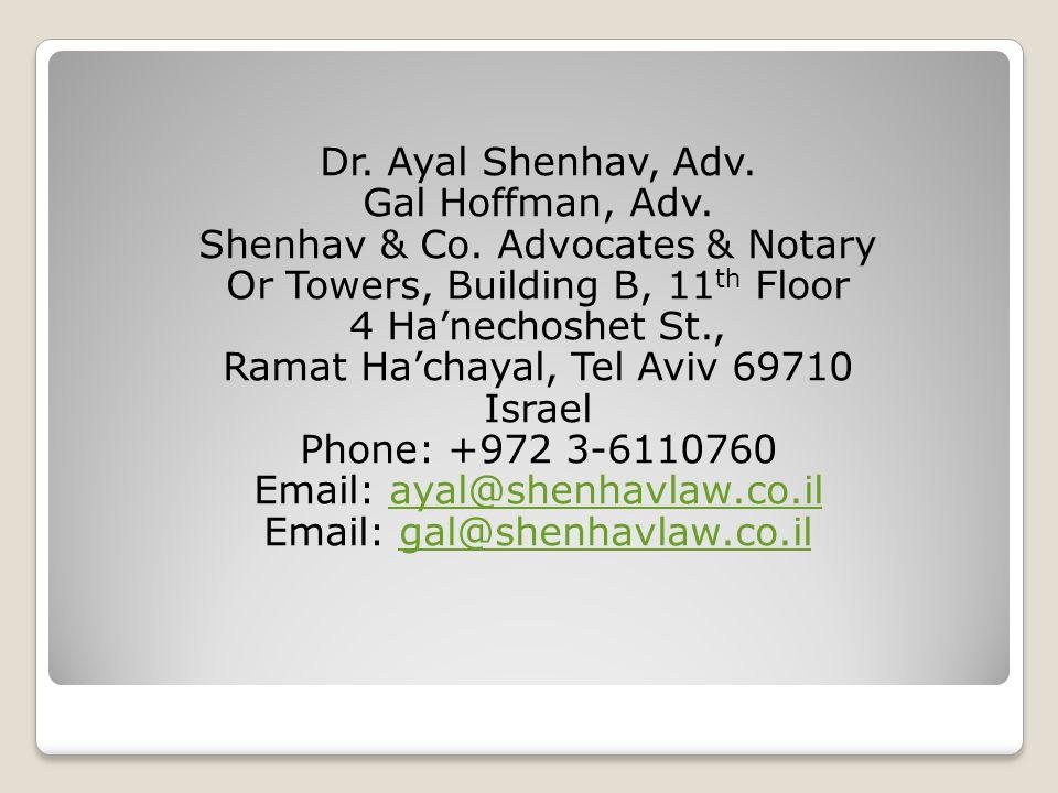 Dr. Ayal Shenhav, Adv. Gal Hoffman, Adv. Shenhav & Co.