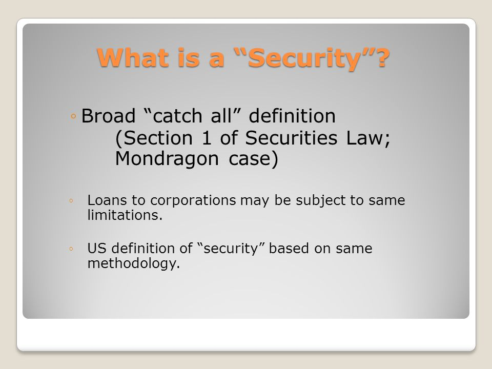 What is a Security .